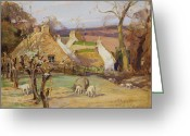Great Painting Greeting Cards - Swanston Farm Greeting Card by Robert Hope