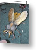 Science Fiction Sculpture Greeting Cards - Swatter Bee Greeting Card by Michael Jude Russo