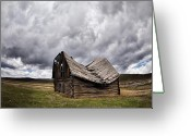 Old Cabins Greeting Cards - Sway Back Greeting Card by Leland Howard