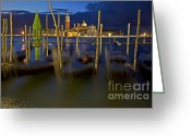 Venetian Architecture Greeting Cards - Swaying Gondolas Greeting Card by Heiko Koehrer-Wagner