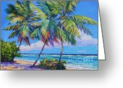 Cayman Greeting Cards - Swaying Palms  Greeting Card by John Clark
