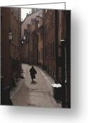 Contemplation Greeting Cards - Sweden, Stockholm, Woman Walking Greeting Card by Keenpress