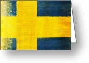 Splash Greeting Cards - Swedish flag Greeting Card by Setsiri Silapasuwanchai