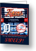 New York Yankees Greeting Cards - Sweep Greeting Card by Michelle Calkins