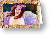 Soft Painting Greeting Cards - Sweet Angel Greeting Card by Genevieve Esson