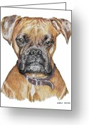 Dog Prints Pastels Greeting Cards - Sweet Boxer Greeting Card by Marla Saville