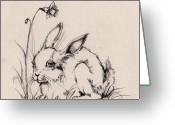 Hare Greeting Cards - Sweet Bunny Greeting Card by Angel  Tarantella