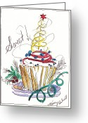 Holiday Notecard Greeting Cards - Sweet Cupcake Greeting Card by Michele Hollister - for Nancy Asbell