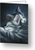 Animal Portrait Pastels Greeting Cards - Sweet Dreams Greeting Card by Cynthia House