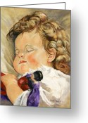 Oil Painting Greeting Cards - Sweet Dreams Greeting Card by Enzie Shahmiri
