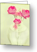 Pastel Roses Greeting Cards - Sweet Fairy Rose Greeting Card by Linde Townsend