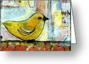 Cute Greeting Cards - Sweet Green Bird Greeting Card by Blenda Tyvoll