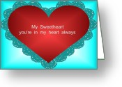 Pencil Drawing Digital Art Greeting Cards - Sweet heart Greeting Card by Garry Staranchuk