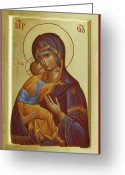 Byzantine Icon Greeting Cards - Sweet Kissing Mother of God Greeting Card by Julia Bridget Hayes