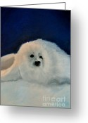 Lighting Pastels Greeting Cards - Sweet Little Winter Seal Pup of my Soul Greeting Card by AE Hansen