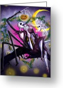 Lovers Digital Art Greeting Cards - Sweet loving dreams in Halloween night Greeting Card by Alessandro Della Pietra