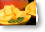 Mango Greeting Cards - Sweet mango diced up and served in its shell Greeting Card by David Smith