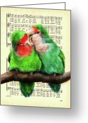 Lovebird Painting Greeting Cards - Sweet Nothing Greeting Card by Suvi-Kukka Tuominen