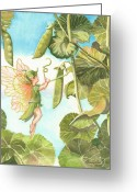 Fairies Greeting Cards - Sweet Pea Greeting Card by Ann Gates Fiser