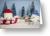 Reds Greeting Cards - Sweet Sleigh Ride Greeting Card by Heather Applegate