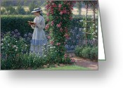 Gardens Greeting Cards - Sweet Solitude Greeting Card by Edmund Blair Leighton