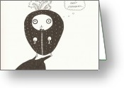 Strawberry Drawings Greeting Cards - Sweet strawberry Greeting Card by Anastassia Neislotova