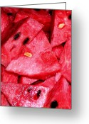 Watermelon Photo Greeting Cards - Sweet Summer Greeting Card by James Temple