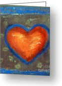 Love Reliefs Greeting Cards - Sweet Tangarine Heart Greeting Card by Jane Clatworthy