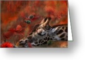 Animal Art Giclee Mixed Media Greeting Cards - Sweet Taste Of Spring Greeting Card by Carol Cavalaris