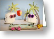 Beach Towel Greeting Cards - Sweet Vacation Greeting Card by Heather Applegate