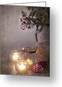 Illuminated Glass Greeting Cards - Sweet Williams faded. Greeting Card by Jane Rix
