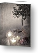 Illuminated Glass Greeting Cards - Sweet williams sepia Greeting Card by Jane Rix