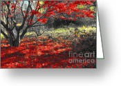 Red Leaves Greeting Cards - Sweetest goodbye Greeting Card by Trish Hale