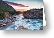 Montana Greeting Cards - Swiftcurrent Creek Sunrise Greeting Card by Scott Pudwell Photography