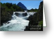 Mountains Mixed Media Greeting Cards - Swiftcurrent Falls - Glacier National Park Montana Greeting Card by Photography Moments - Sandi