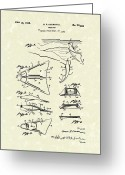 Antique Artwork Greeting Cards - Swim Fin 1948 Patent Art Greeting Card by Prior Art Design