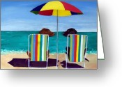 Beach Umbrella Painting Greeting Cards - Swim Greeting Card by Roger Wedegis