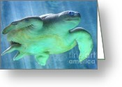 Sea Turtle Greeting Cards - Swimmer Greeting Card by Dan Holm