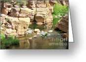 Swimming Hole Greeting Cards - Swimming Hole at Slide Rock Greeting Card by Carol Groenen