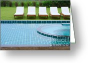 Transparent Green Greeting Cards - Swimming Pool And Chairs Greeting Card by Atiketta Sangasaeng
