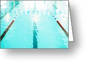 Olympic Greeting Cards - Swimming Pool Lane Greeting Card by Skip Nall