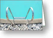 Water Swimming Pool Greeting Cards - Swimming Pool With White Pebbles Greeting Card by Lawren