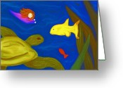 Vibrant Pastels Greeting Cards - Swimming with Sea Turtles Greeting Card by Christine Crosby