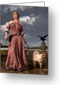 Remington Digital Art Greeting Cards - Swineherdess Greeting Card by Daniel Eskridge
