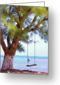 Pacific Art Greeting Cards - Swing Me... Greeting Card by Karen Wiles