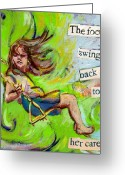 Tilly Strauss Greeting Cards - Swing Greeting Card by Tilly Strauss