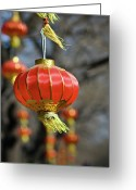 Cities Art Greeting Cards - Swinging Chinese Lanterns Greeting Card by Jeremy Vickers Photography