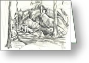  Parks Drawings Greeting Cards - Swirling Cast Shadows at Elephant Rocks  No CtC101 Greeting Card by Kip DeVore