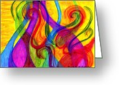 Whimsical Pastels Greeting Cards - Swirls and Twirls Greeting Card by Cassandra Donnelly
