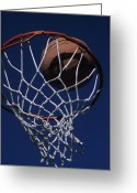 Hoops Greeting Cards - Swish.  A Basketball Greeting Card by Stacy Gold